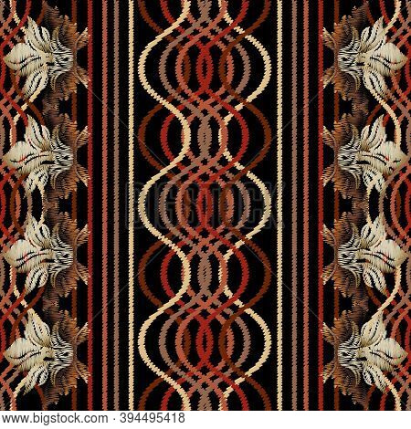 Striped Embroidery Geometric Seamless Pattern. Vector Abstract Tapestry Background. Vintage Embroide