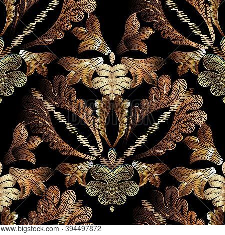 Embroidery Baroque Vector Seamless Pattern. Gold Floral Grunge Dark Background. Tapestry Wallpaper.