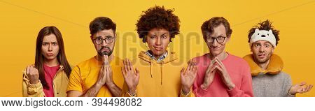 Five Different People Gesture And Express Various Emotions. One Woman Clenches Fist And Looks Angril
