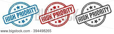 High Priority Stamp. High Priority Round Isolated Sign. High Priority Label Set