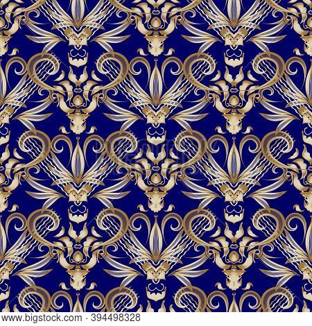 Vintage Floral Gold Damask Seamless Pattern. Blue Vector Background. Hand Drawn Abstract Golden Flow