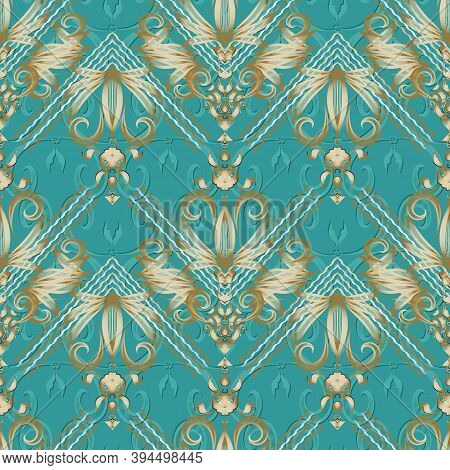 Vintage Floral Striped Seamless Pattern. Turquoise Vector Background. Hand Drawn Gold Damask Flowers