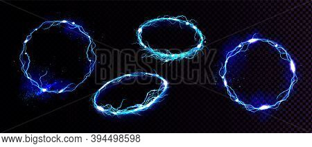 Electric Lightning Frames, Circle Digital Glowing Borders In Front And Angle View. Vector Realistic