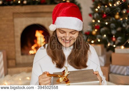 Caucasian Woman Receive Surprise Gifts On Christmas Day, Opening Present Box And Smiling Happily Dur