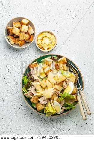 Fresh Caesar Salad With Lettuce Salad, Chicken Breast, Boiled Eggs And Croutons In Ceramic Bowl With