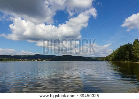 Lipno lake and  small town Frymburk on the lakeside in Czech Republic.
