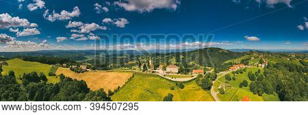 Aerial View At Kitzeck Im Sausal In Styria On Sunny Summer Day. Panorama Of Vineyard Agriculture In