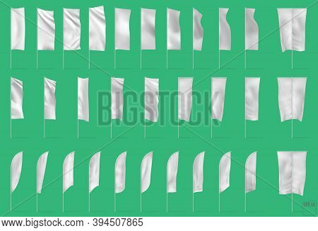 Advertisement Blank Flags And Banners Various Shapes Templates Collection White. Realistic Isolated