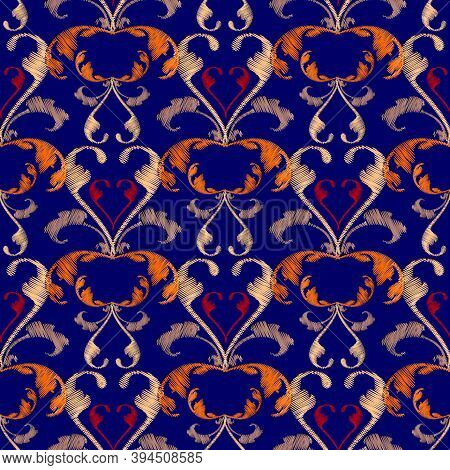 Damask Floral Embroidery Seamless Pattern. Vector Background. Grunge Texture. Colorful Tapestry Vint