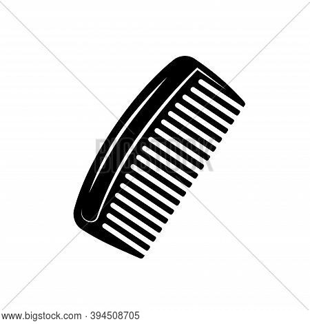 Cut-out Silhouette Of A Comb For A Beard. Comb For Combing Beard, Hair Comb. Beard Comb Vector Icon