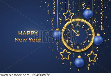 Happy New Year 2021. Golden Shiny Watch With Roman Numeral And Countdown Midnight, Eve For New Year.