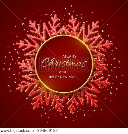 Christmas Red Background With Shining Snowflakes. Merry Christmas Greeting Card. Holiday Xmas And Ne