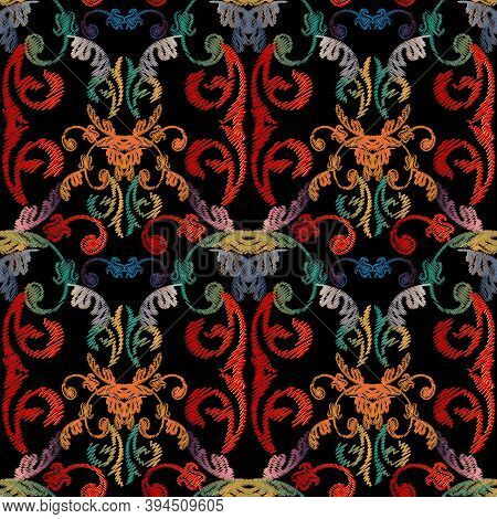 Baroque Floral Embroidery Seamless Pattern. Vector Grunge Texture. Colorful Tapestry Vintage Flowers