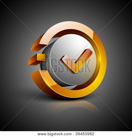 Glossy 3D web 2.0 check mark validation symbol icon set. EPS 10.
