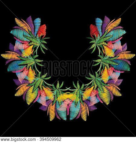 Embroidery Colorful Floral Neckline Pattern. Bright Vector Background With Multicolor Embroidered Ex