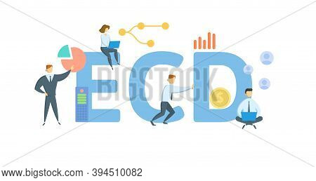 Ecd, Estimated Completion Date. Concept With Keywords, People And Icons. Flat Vector Illustration. I