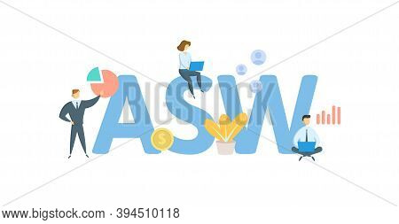 Asw, Actual Silver Weight. Concept With Keywords, People And Icons. Flat Vector Illustration. Isolat