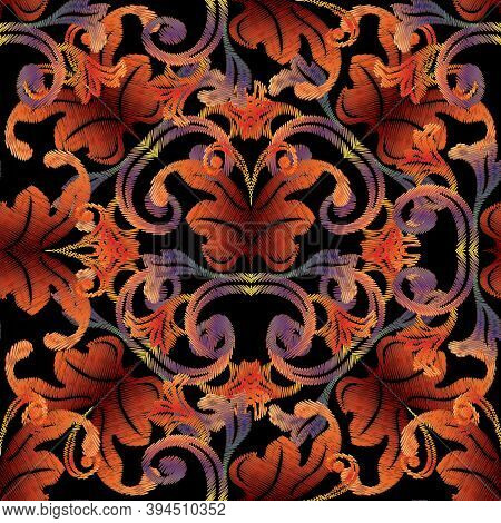 Baroque Tapestry Seamless Pattern. Vector Vintage Background Wallpaper With Antique Embroidered Dama