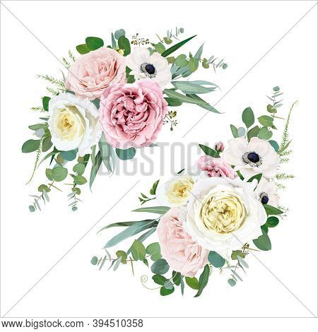 Tender Vector Floral Bouquet Design. Blush Peach, Mauve, Pale Pink, Cream Cabbage Rose, Ivory White