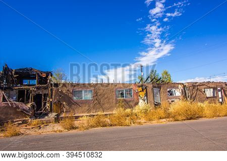 Old Motel Units Destroyed By Fire In High Desert Town