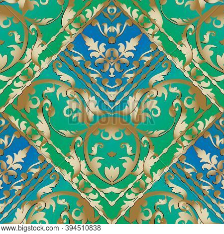 Gold Baroque Striped Seamless Pattern. Blue And Green Floral Vector Baclground Wallpaper With Vintag