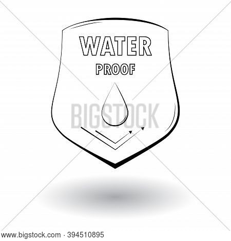 Waterproof Cloth Material Protection Emblem Badge. Shield With Droplet. Vector Illustration