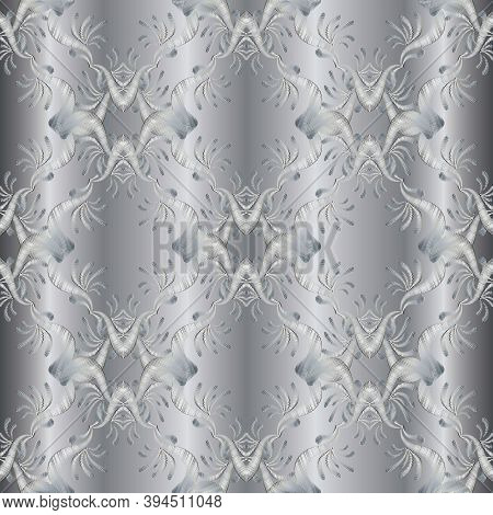 Silver Embroidery Floral 3d Seamless Pattern. Damask Tapestry Background Wallpaper. Embroidery Flowe