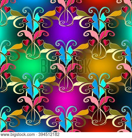 Elegance Vintage Floral Colorful Seamless Pattern. Vector Bright Glowing Background. Glow Repeat Pat