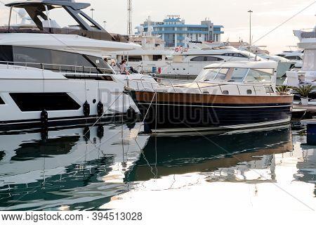 Sochi, Russia - June 12, 2019: Marine Station Port Of Sochi, Krasnodar Krai, Russia, Boats And Yacht