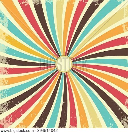 Retro Grunge Texture Background With Vintage Swirly Rays. Vector Illustration