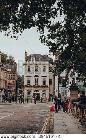 Bath, Uk - October 04, 2020: View Of The Huntsman Pub In Bath, The Largest City In Somerset Known Fo