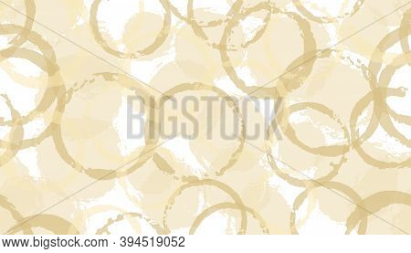 Summer Painted Circles Geometry Fabric Print. Round Shape Stain Overlapping Elements Vector Seamless