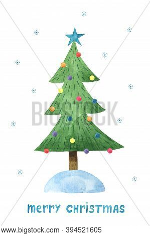 New Year Card Design With Christmas Tree And Congratulation - Merry Christmas. Spruce Tree With Colo