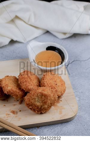 Shrimp Pancake With Dipping Sweet Sauce On Wooden Cutting Broad. Food Asian Style Served With Sweet