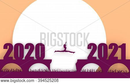 A Woman Jump Between 2020 And 2021 Years. Human Silhouette Jumping Over A Gap In The Bridge. 3d Rend