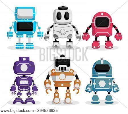 Robot Vector Characters Set. Robotic Character With Futuristic Technology Design For Electronics Fun