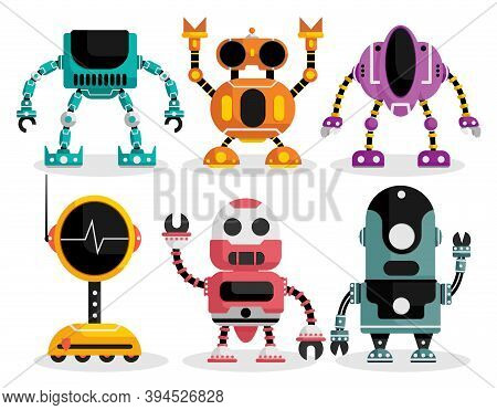 Robots Vector Characters Set. Robot Character With Mechanical Android Robotic Design For Friendly To