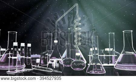Coronavirus Covid-19 Vaccine Background, Laboratory Test Tubes On Virus Backdrop - Medical Concept,