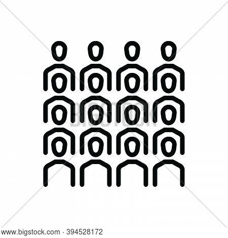 Black Line Icon For Cluster Group Team Congregation Conglomeration Gather Assemble Crowd Flock Peopl