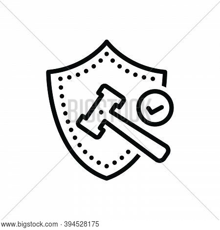 Black Line Icon For Conduct Manage-handle Law Charge Policy Protection Conservation Insurance Shield