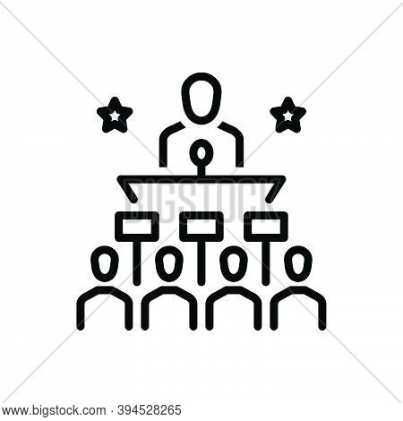 Black Line Icon For Politically Publicly Governmentally Leadership Speech People Microphone Audience