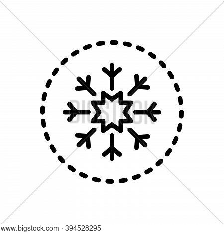 Black Line Icon For Snow Flake Christmas Ice Sign Winter Freeze Crystal Weather Frost Decoration