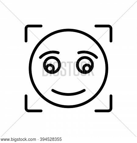 Black Line Icon For Briefly Concisely Glance Glimpse Scintilla Emoji Shape Sign Smile