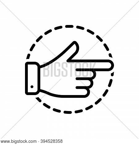 Black Line Icon For Aside Finger Pointing Direction Forefinger Gesture Indicate Attention Separately
