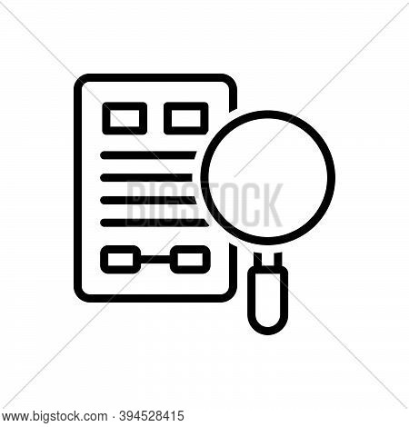 Black Line Icon For Evidence Proof Confirmation Verification Clue Information Testimony Vindication