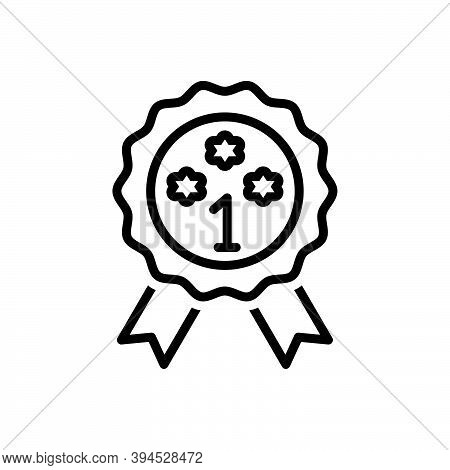 Black Line Icon For Prime Heyday Best First Premium Quality Ribbon Award Achieve Champion Prize Cert