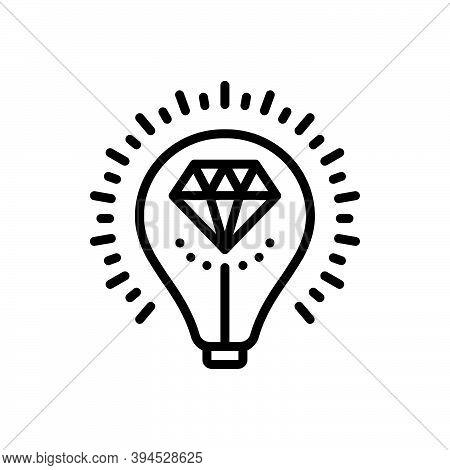 Black Line Icon For Brilliant Bright Glossy Shining Luminous Sparkling Diamond Valuable Expensive Ta