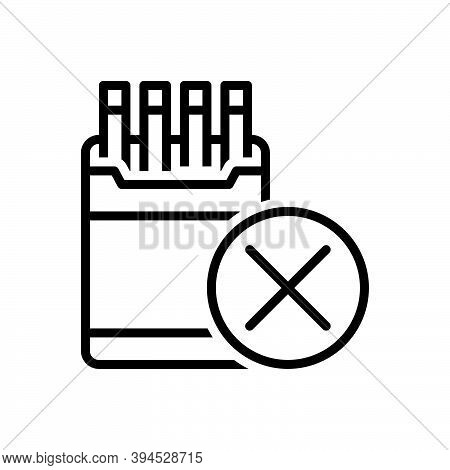 Black Line Icon For Restriction Inhibition Ban Prohibit Moratorium Taboo Smoking No-smoking Cigarett