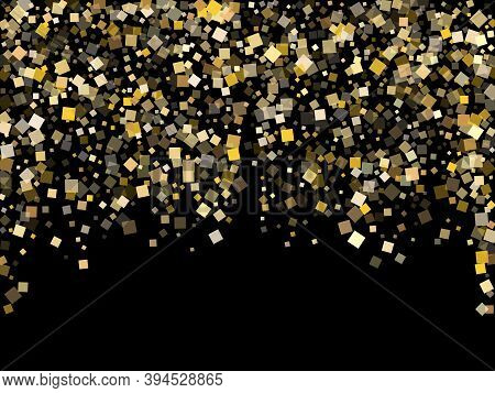 Stylish Gold Square Confetti Sparkles Scatter On Black. Glittering New Year Vector Sequins Backgroun