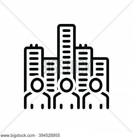 Black Line Icon For Society Community Civilization Population Humanity Nation Building Edifice Cultu
